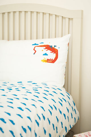 Frugi Sleepy Single Duvet Set -  Multi Dragon Dreams