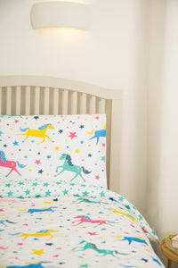 Frugi Sleepy Single Duvet Set -  Unicorn Stars