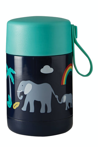 Image of Frugi Yummy Insulated Food Flask - Indigo/Elephant