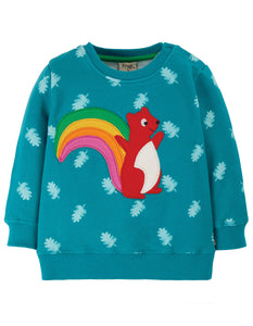 Frugi Jump About Jumper - Teal Acorn Leaves/Squirrel