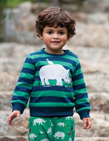 Image of Frugi Jump About Jumper - Jade Stripe/Rhino - Tilly & Jasper