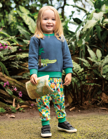 Frugi Jump About Jumper - Space Blue/Croc