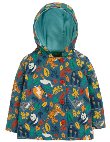 Frugi Cosy Button Up Jacket - Steely Blue Endangered Hero - Tilly & Jasper