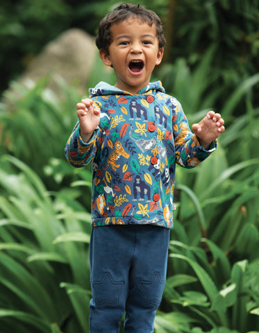 Frugi Cosy Button Up Jacket - Steely Blue Endangered Hero