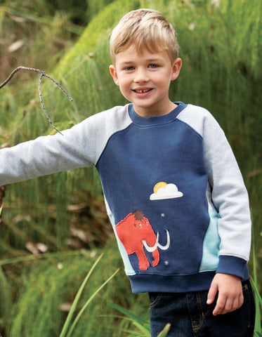 Image of Frugi Summit Sweatshirt - Space Blue/Mammoth