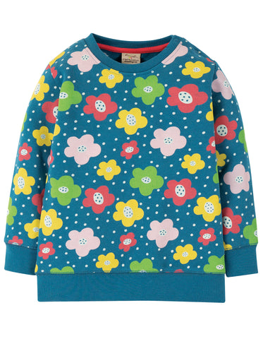 Image of Frugi Jude Jumper - Steely Blue Floral Spot