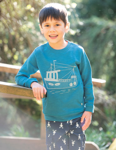 Image of Frugi Ezra Jumper - Steely Blue/Boat