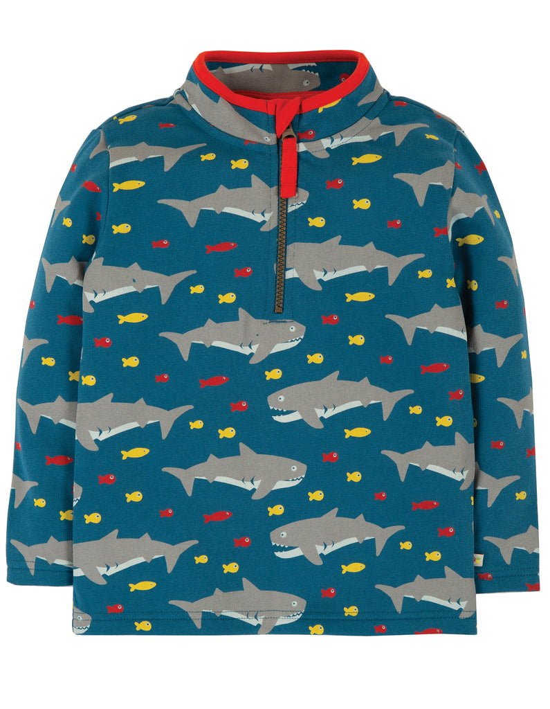 Frugi Happy Half Zip Jumper - Sharking Around