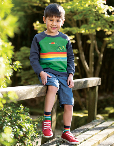 Frugi Rocco Jumper - Ribbit Green/Bike