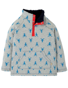 Frugi Snuggle Fleece - Grey Marl Lobster