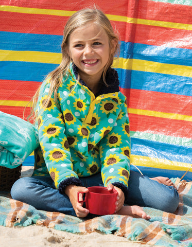 Frugi Snuggle Fleece - Pacific Aqua Sunflowers
