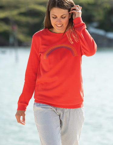 Image of Frugi Byrony Jumper - Koi Red/Rainbow (maternity wear)