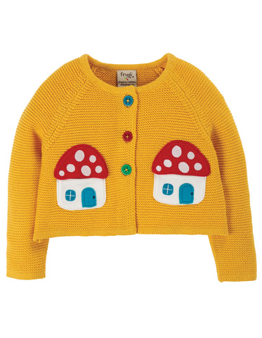 Image of Frugi Little Annie Applique Cardigan - Bumble Bee/Mushroom