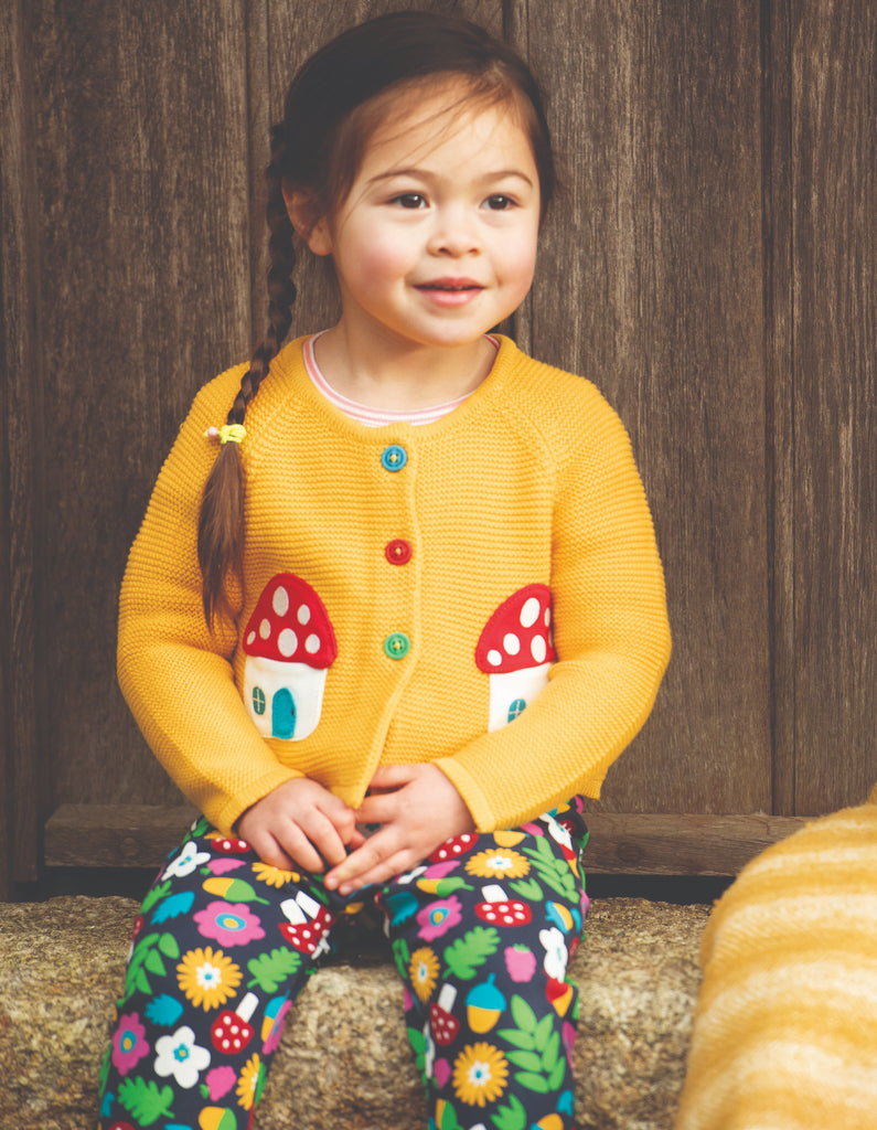 Frugi Little Annie Applique Cardigan - Bumble Bee/Mushroom