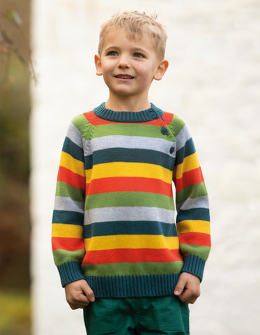 Frugi Storm Stripy Jumper -  Ginger Rainbow Stripe