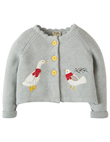 Frugi Sweet Swing Cardigan - Grey Marl Melange/Goose - Organic Cotton