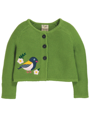 Image of Frugi Annie Applique Cardigan - Meadow/Finch - Tilly & Jasper