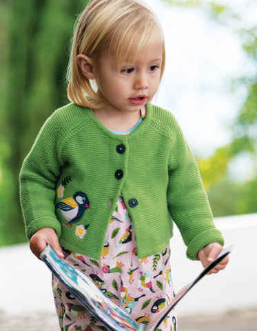 Frugi Annie Applique Cardigan - Meadow/Finch
