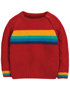 Frugi Caleb Cable Knit Jumper - Tango Red/Rainbow - Tilly & Jasper