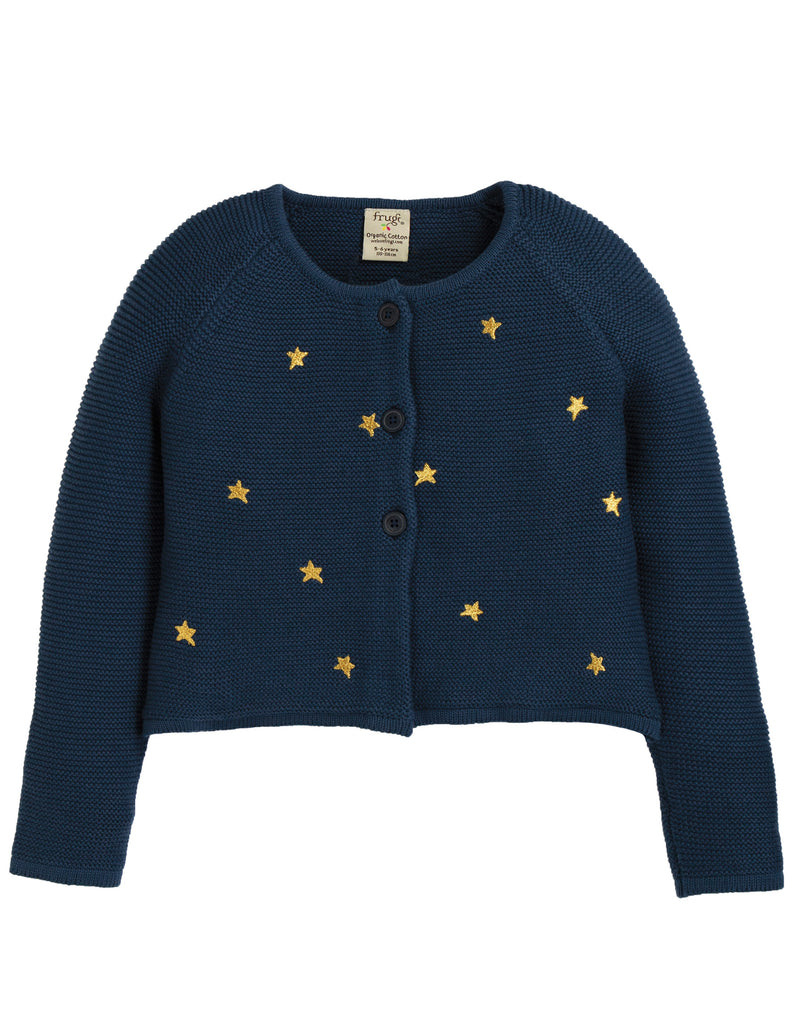 Frugi Emilia Embroidered Cardigan - Space Blue/Stars - Tilly & Jasper
