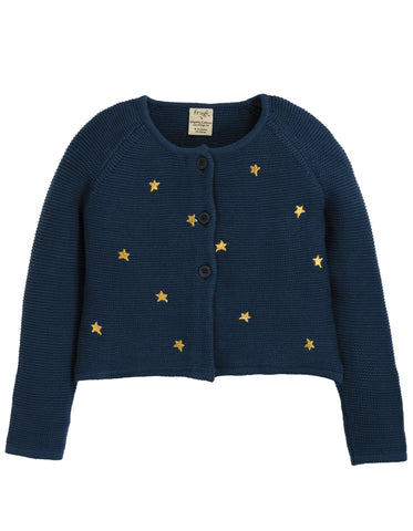 Image of Frugi Emilia Embroidered Cardigan - Space Blue/Stars - Tilly & Jasper