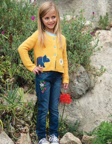 Image of Frugi Annie Applique Cardigan - Bumble Bee/Dino - Tilly & Jasper