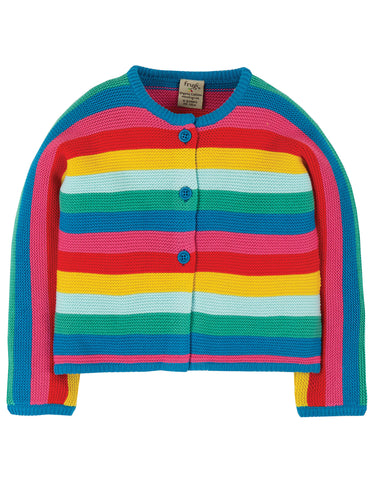 Image of Frugi Nyla Cardigan - Rainbow Stripe