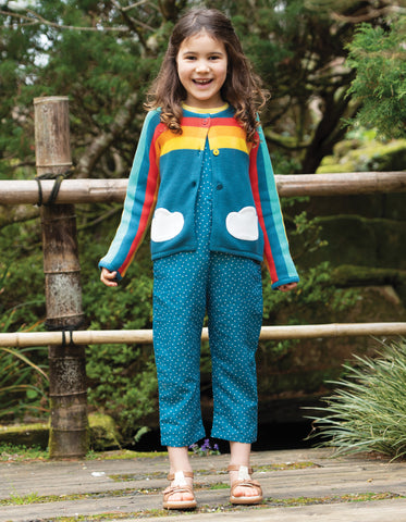 Image of Frugi Skylar Cardigan - Steely Blue/Rainbow