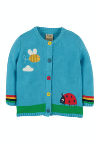 Frugi Cuddly Knitted Cardigan - Mid Blue/Bee