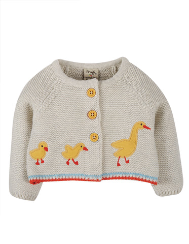 Image of Frugi Cute As A Button Cardi - Grey Marl/Duck