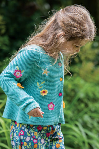 Frugi Emilia Embroidered Cardigan - Aqua/Flower