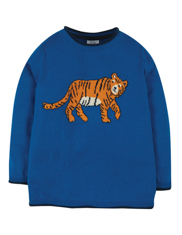 Image of Frugi Kian Knitted Jumper - Colbalt/Tiger