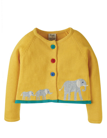Frugi Little Annie Applique Cardigan - Bumble Bee/Elephant