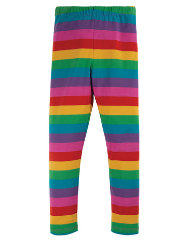 Image of Frugi Libby Striped Leggings - Foxglove Rainbow Stripe