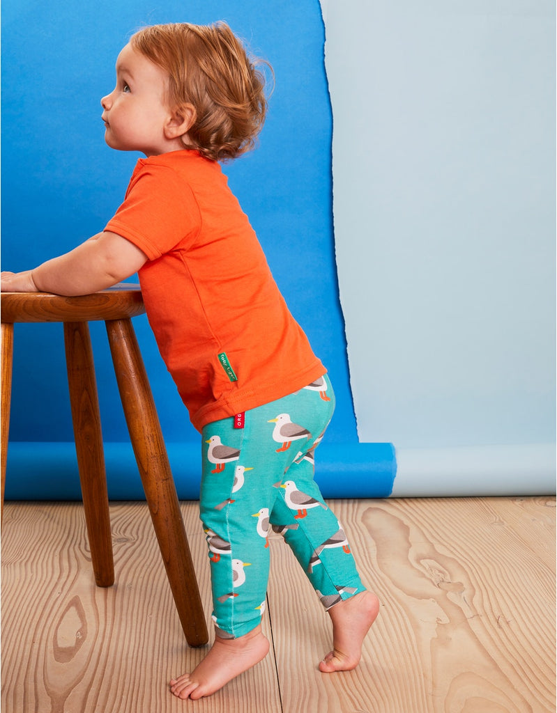 Toby Tiger Teal Seagull Print Leggings
