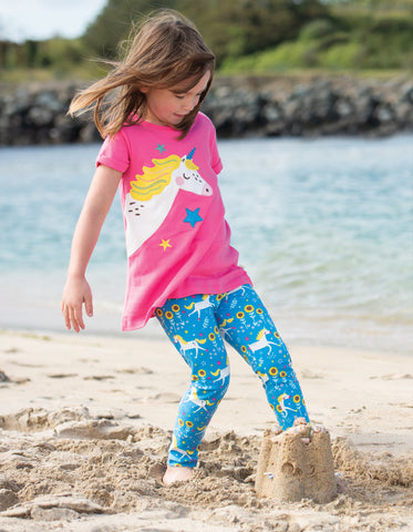 Frugi Libby Printed Leggings - Unicorn Skates