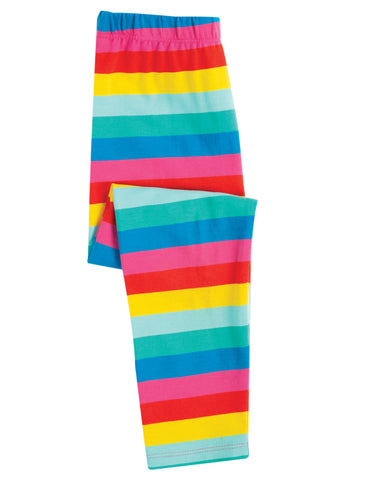 Frugi Libby Printed Leggings - Flamingo Multi Stripe