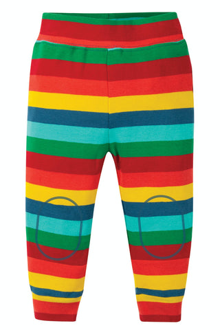 Image of Frugi Cuffed Leggings - Steely Blue Multi Stripe