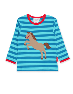 Toby Tiger  Jumping Horse Applique LS T-Shirt