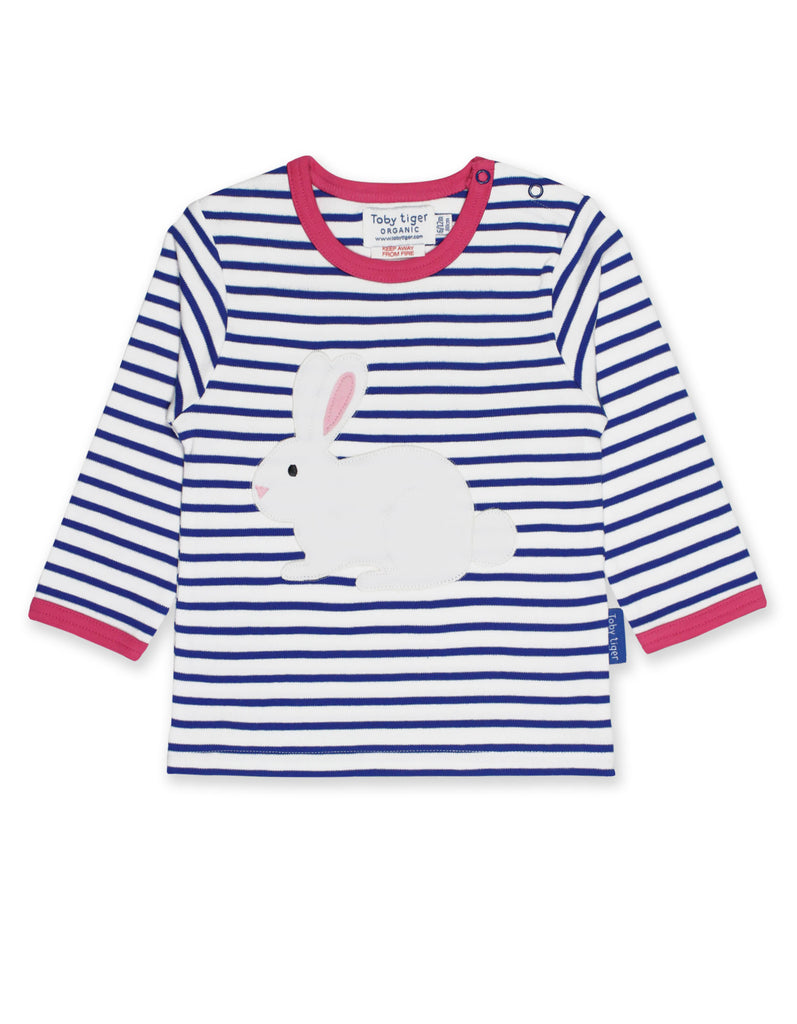 Toby Tiger Breton Rabbit Applique LS T-Shirt