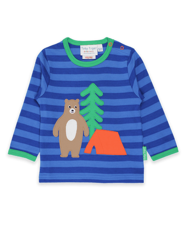 Toby Tiger Camping Bear Applique T-Shirt