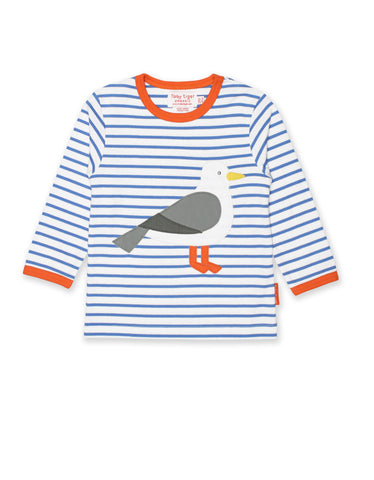 Toby Tiger Seagull Applique Applique LS T-Shirt