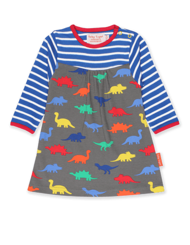 Image of Toby Tiger Dinosaur Print LS Dress