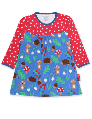 Toby Tiger  Organic Woodland Print LS Dress