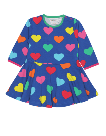 Image of Toby Tiger Multi Heart Print Skater Dress