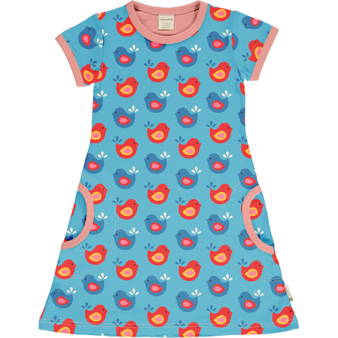 Maxomorra Short Sleeve Dress - Bright Birds