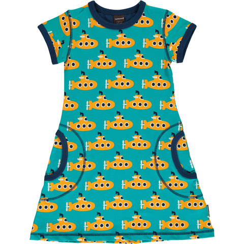 Maxomorra Short Sleeve Dress - Submarine
