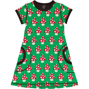 Maxomorra Short Sleeve Dress - Mushroom