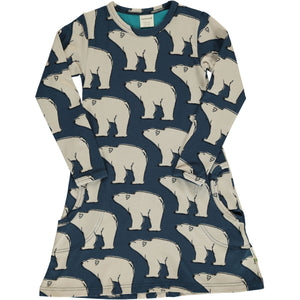 Maxomorra Long Sleeve Dress - Polar Bear