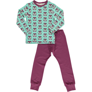 Maxomorra Long Sleeve Pyjama Set - Purple Pansy